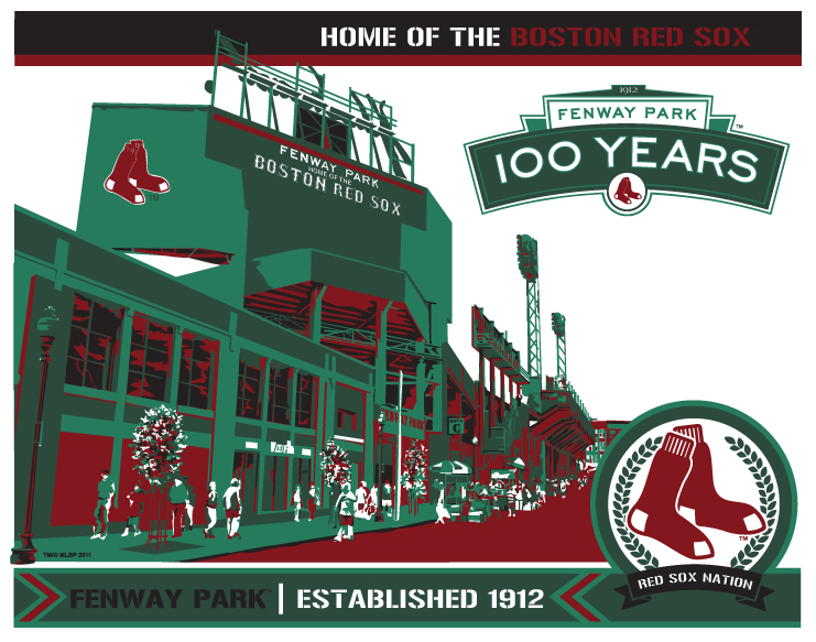 "Chris Speakman's ""Fenway 100"" painting is one of the pieces of artwork on display."